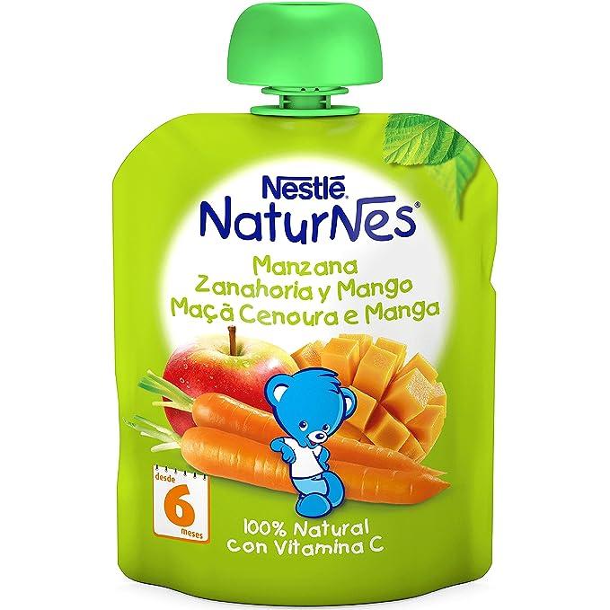Nestlé Naturnes - Bolsitas de Manzana, Zanahoria y Mango - A Partir de 6 Meses