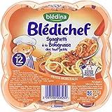 Blédina Blédichef Assiette Spaghetti à la Bolognaise des tout-petits dès 12 mois 230 g - Lot de 6