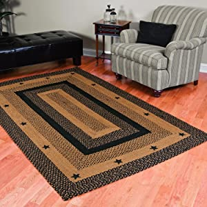 IHF Home Decor Floor Carpet Braided Area Rug Rectangle 36 x 60 Inch Jute Fiber Star Black Design