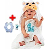 Baby Towel And Washcloth | Hooded Baby Bath Towel And Drool Towel (3-Piece Set) Cute Animal Face | 100% Organic Cotton | Soft To Newborn | Boys, Girls, Infant to Toddler
