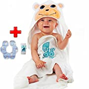 Hooded Baby Towel – 100% Organic Cotton Baby Towel Set – Kids Hooded Towel Makes Perfect Baby Shower Gift – Cute Monkey Towel Set for Toddlers with Free Washcloth and Baby Teething Cloth by Rotshl