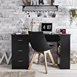 Black Computer Desk Workstation Table - with 3 Drawers & 3 Shelves for home or office use - Laura James Premium
