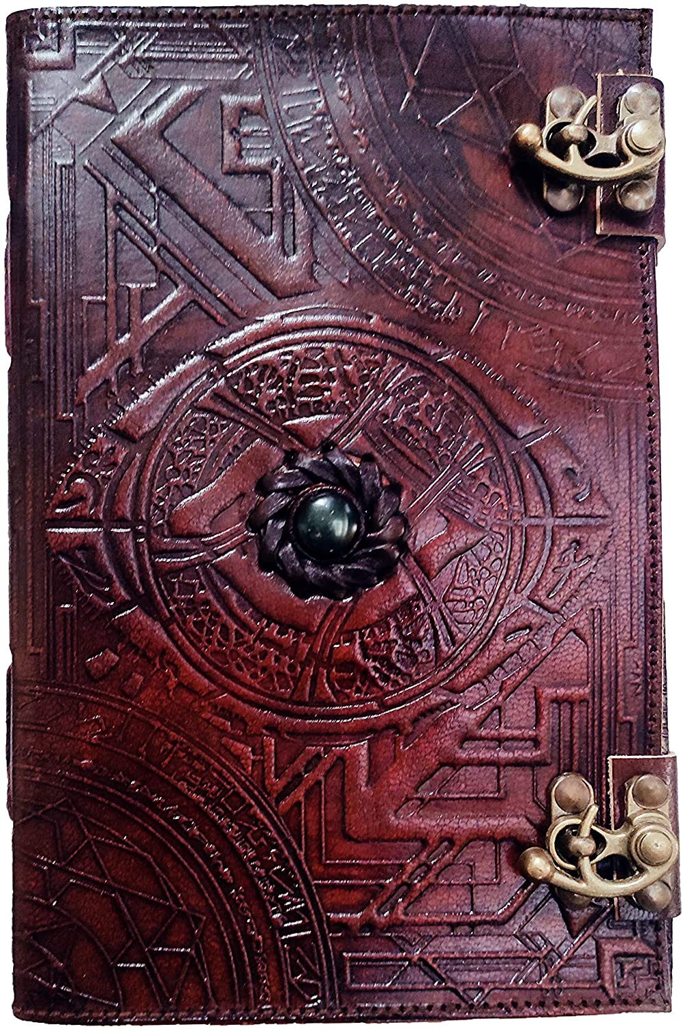Doctor Strange Eye of Agamotto Embossed Handmade Stone Leather Journal Art Sketchbook Travel Diary with Vintage Lock Latch