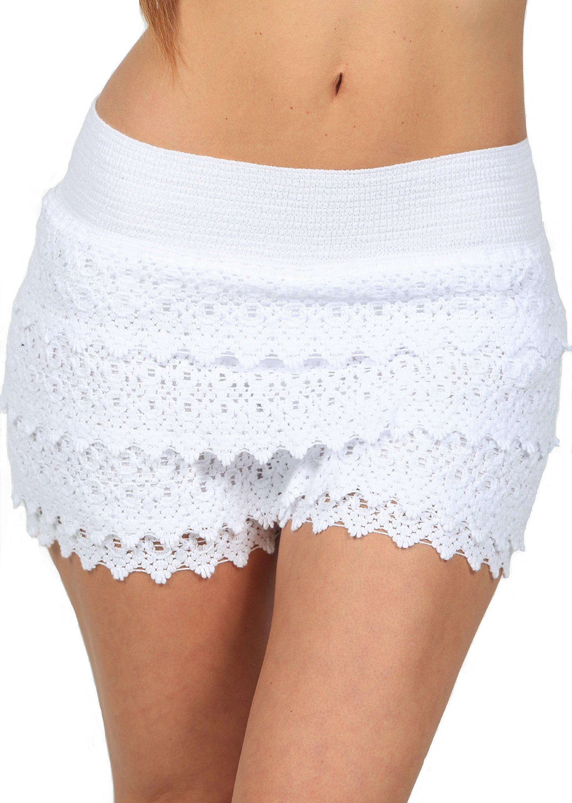 PURE COTTON Women's Lace Shorts Casual Cotton Crochet Summer Beach Miniskirts (White, Large)