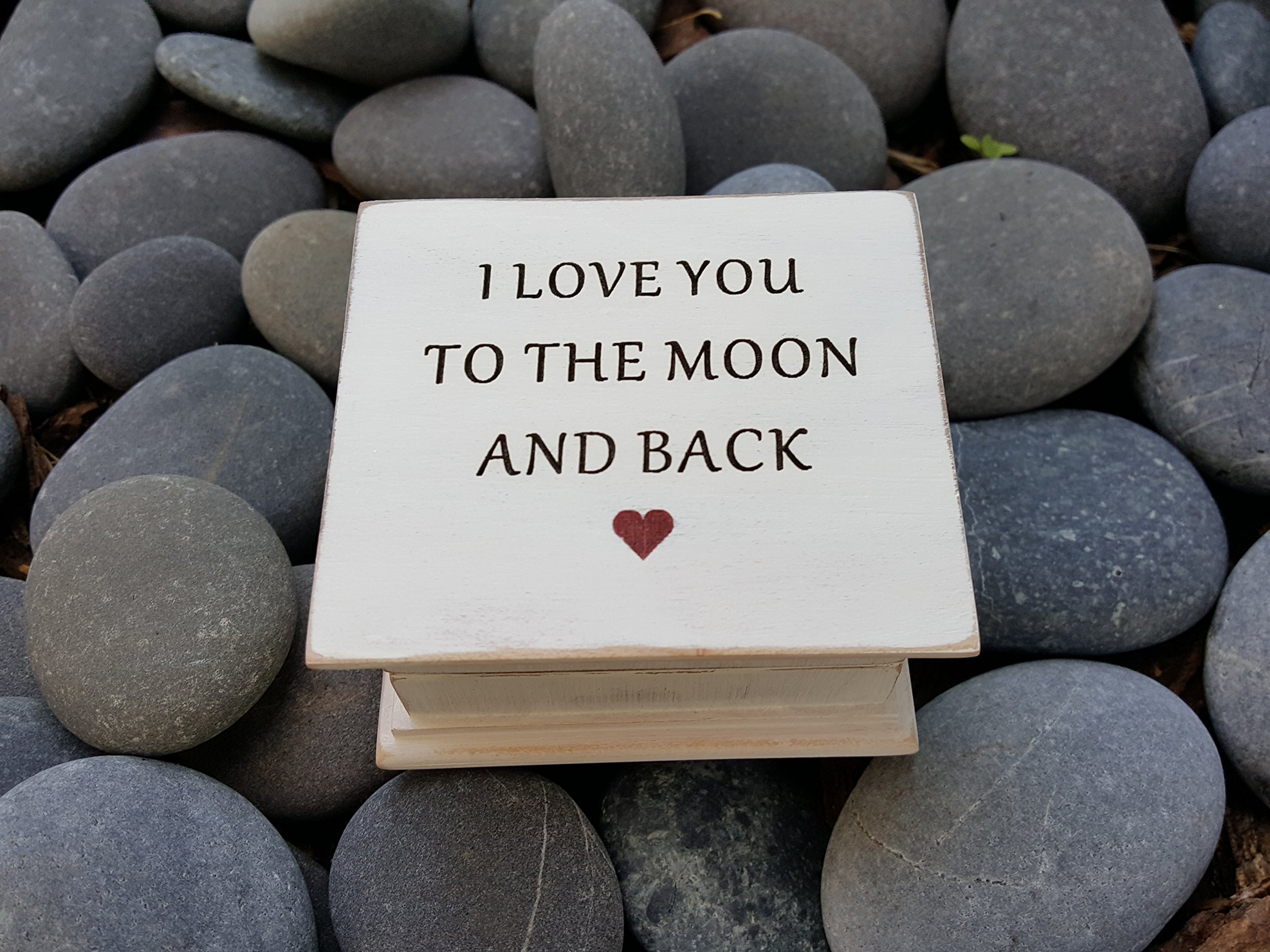 Custom made music box with I love you to the moon and back engraved on top, perfect birthday gift for daughter or mom