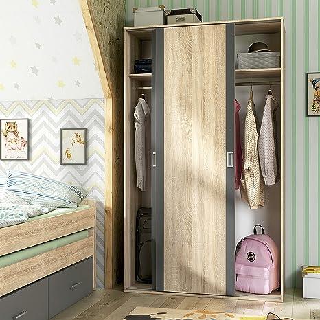 HomeSouth - Armario Dos Puertas correderas Dormitorio habitación, Acabado en Color Grafito y Cambria, Modelo Lara, Medidas: 120 cm (Largo) x 207 cm (Alto) x 55 cm (Fondo): Amazon.es: Hogar