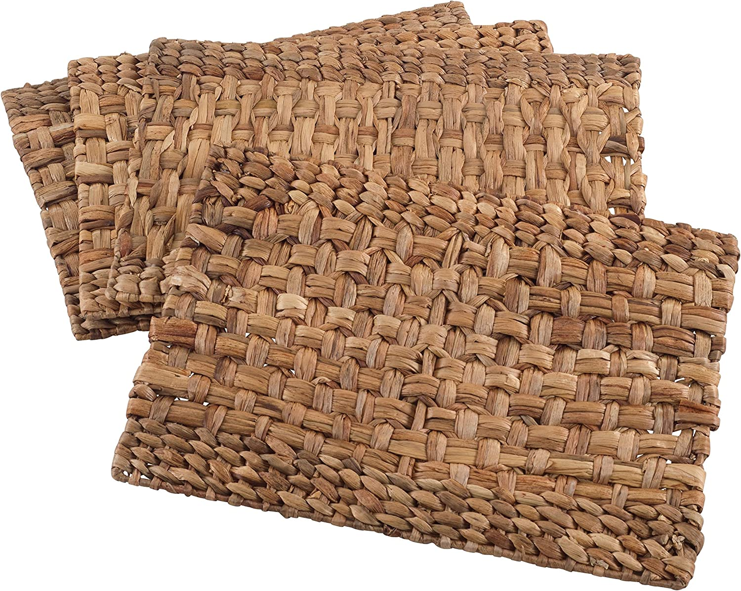 MISC 4 Piece Set Brown Woven Rattan Placemats Wooden Hardboard Texture Placemat Settings