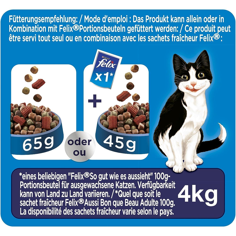 Felix Crunchy & Soft Pienso seco para Gatos (4 Paquetes de 950 g): Amazon.es: Productos para mascotas