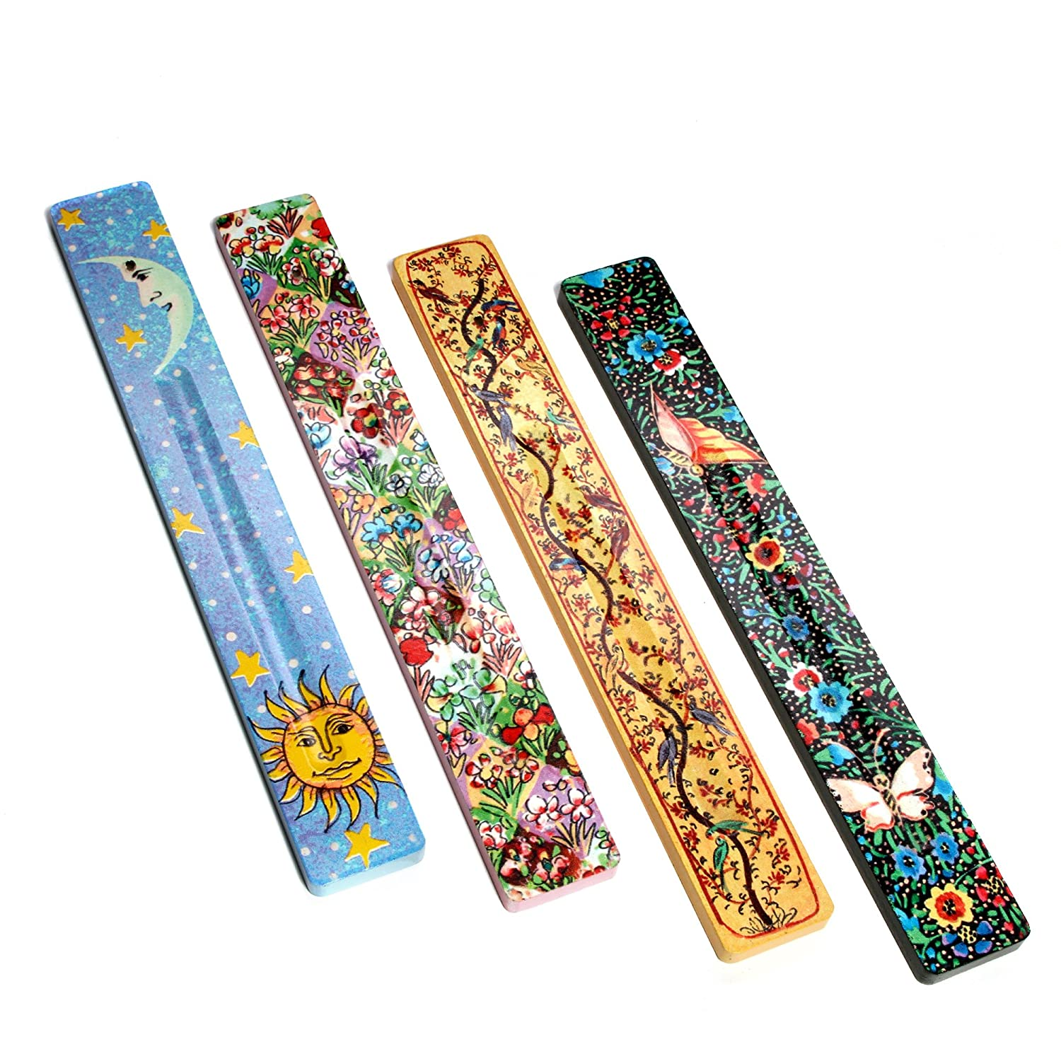 Hosley's Set of 4 Assorted 10 Long Wood Incense Holder. Ideal Gift for Wedding, Party Favor, Aromatherapy, Zen, Spa, Reiki Chakra Meditation O7 HG Global FBA-BS51403PS-4-EA