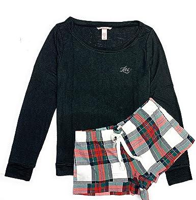 b06ec0eda Victoria s Secret Women s The Lounge Short PJ Lightweight Flannel Pajamas  Set at Amazon Women s Clothing store