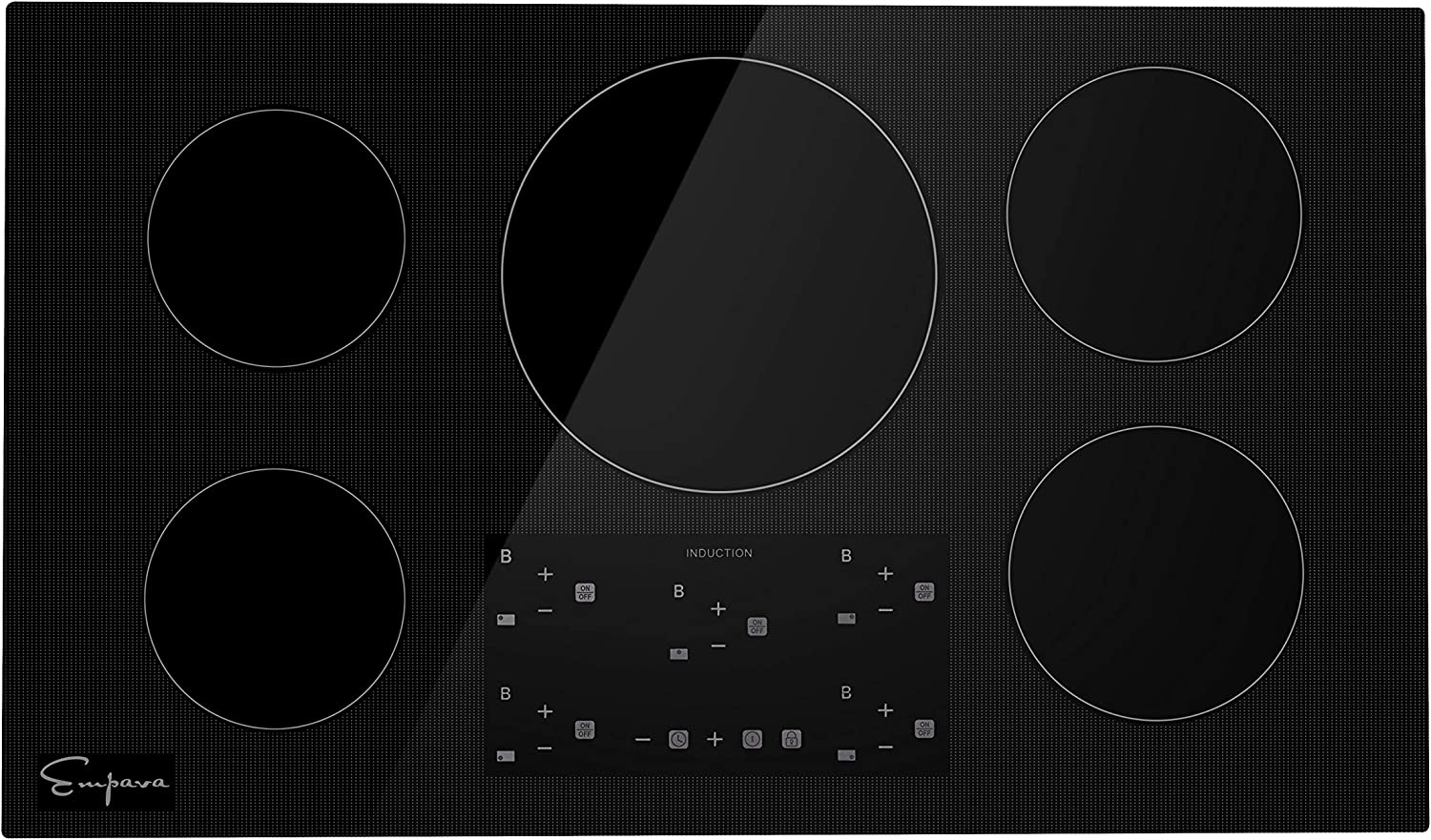 "Empava 36"" Electric Stove Induction Cooktop with 5 Power Boost Burners Smooth Surface Vitro Ceramic Glass in Black, 36 Inch"