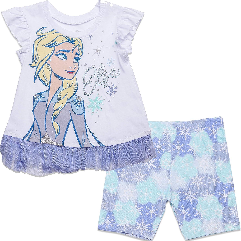 Disney Frozen Elsa Anna Girls Fashion T-Shirt and Bike Shorts Set