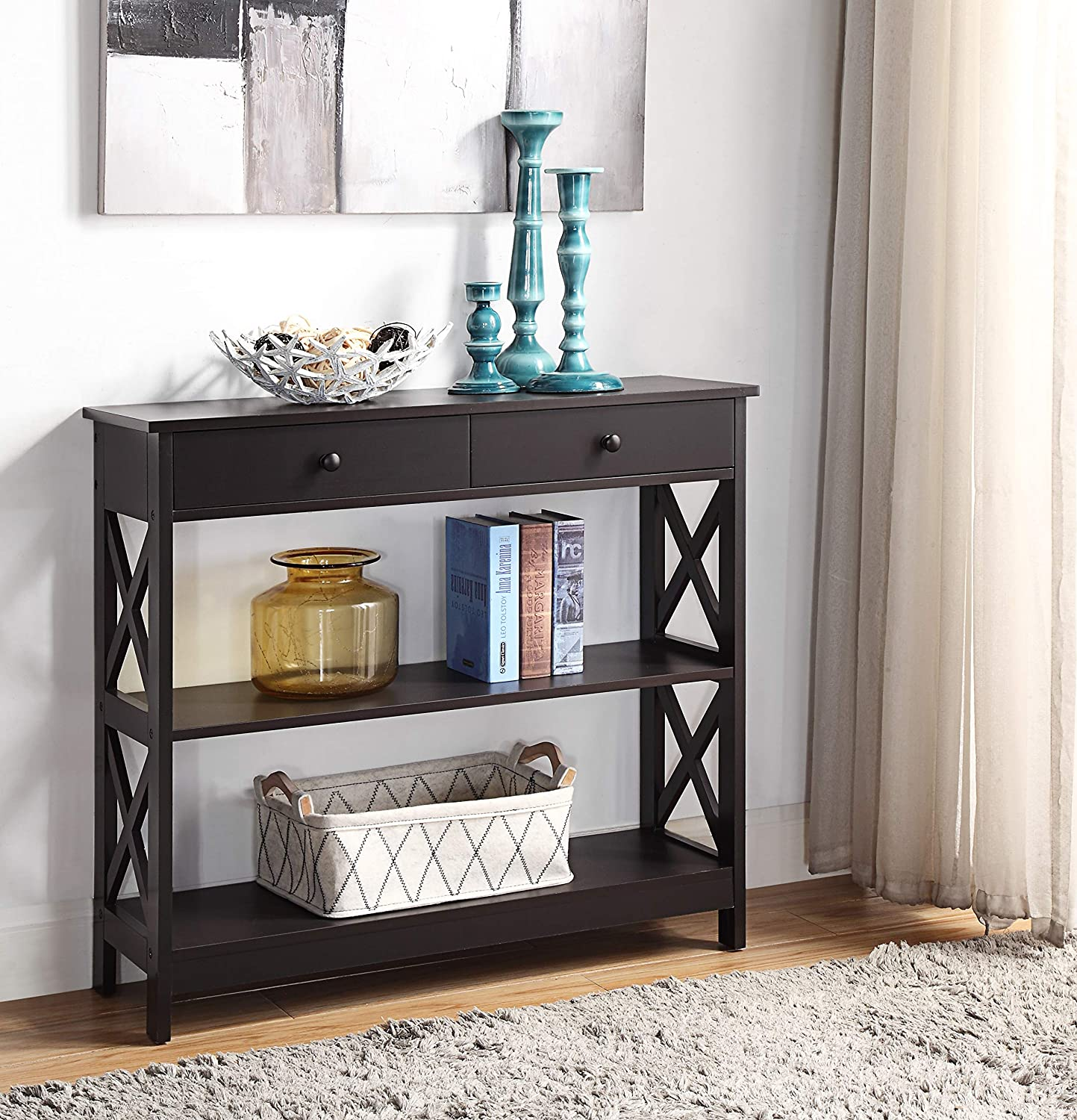 Espresso Finish 3-Tier Console Sofa Entry Table with Shelf/Two Drawers: Kitchen & Dining