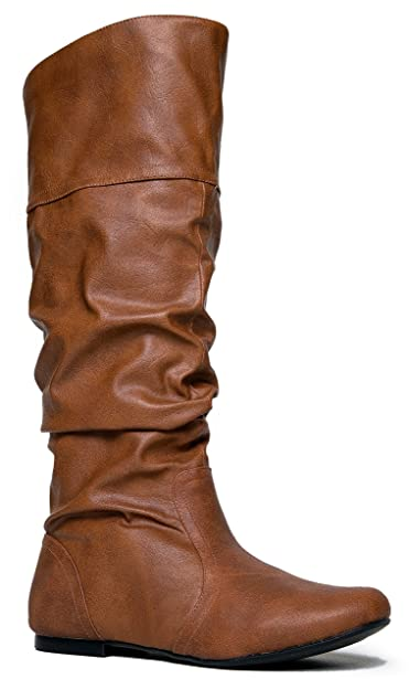 feb13d62ca2 Slouchy Knee High Boot – Women s Flat Riding Boot – Comfortable Vegan  Leather Boot - Casual