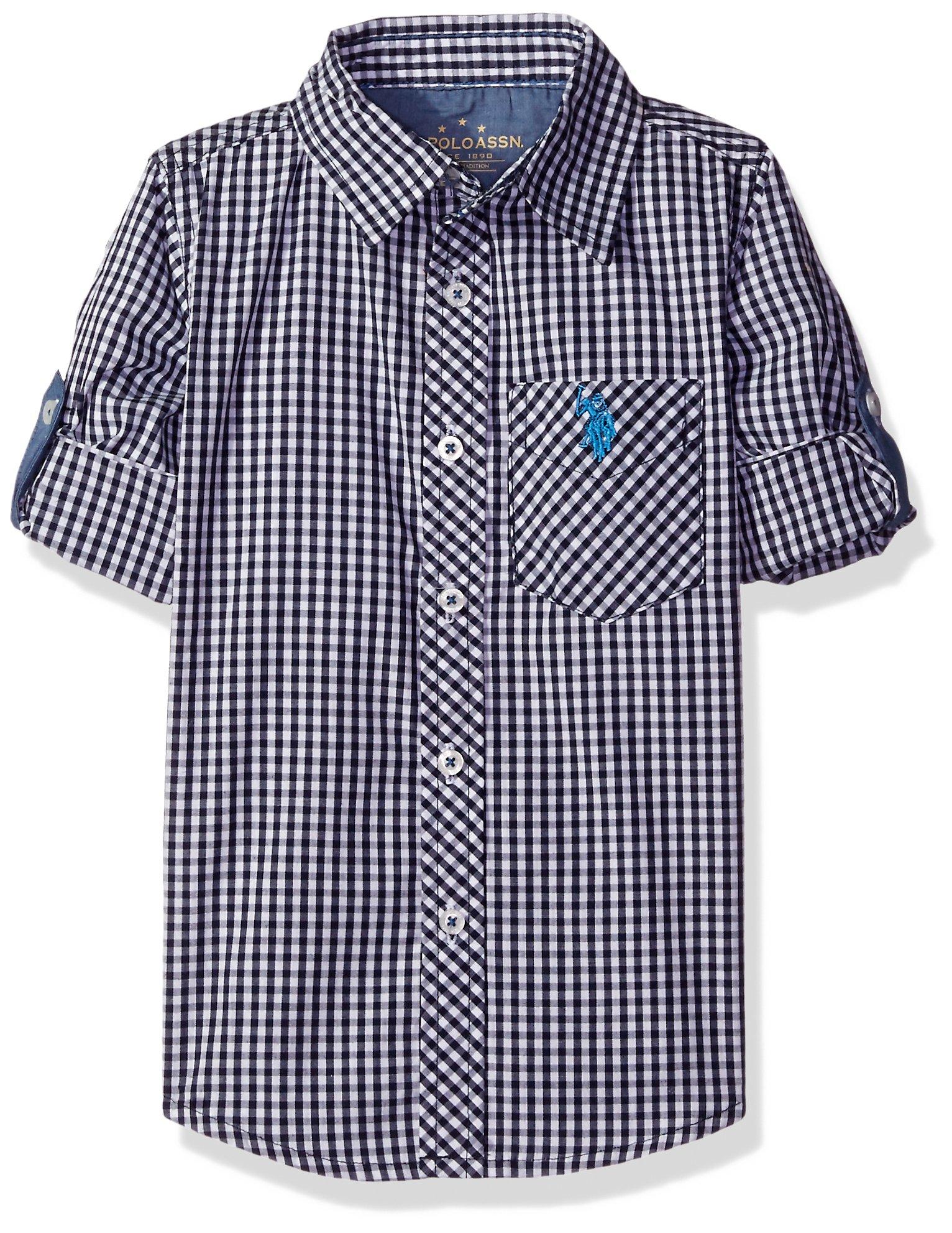 U.S. Polo Assn. Little Boys' Toddler Long Sleeve Single Pocket Sport Shirt, Classic Navy Plaid, 3T
