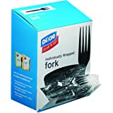 "Dixie Individually Wrapped 6.104"" Medium-Weight Polystyrene Plastic Fork by GP PRO (Georgia-Pacific), Black, FM5W540…"