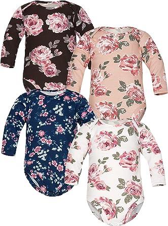 Sibinulo Niño Niña Pijama Bebé Body Bebé de Algodón, Tamaños 0 Meses a 3 años, Pack de 4 Rosas Mix