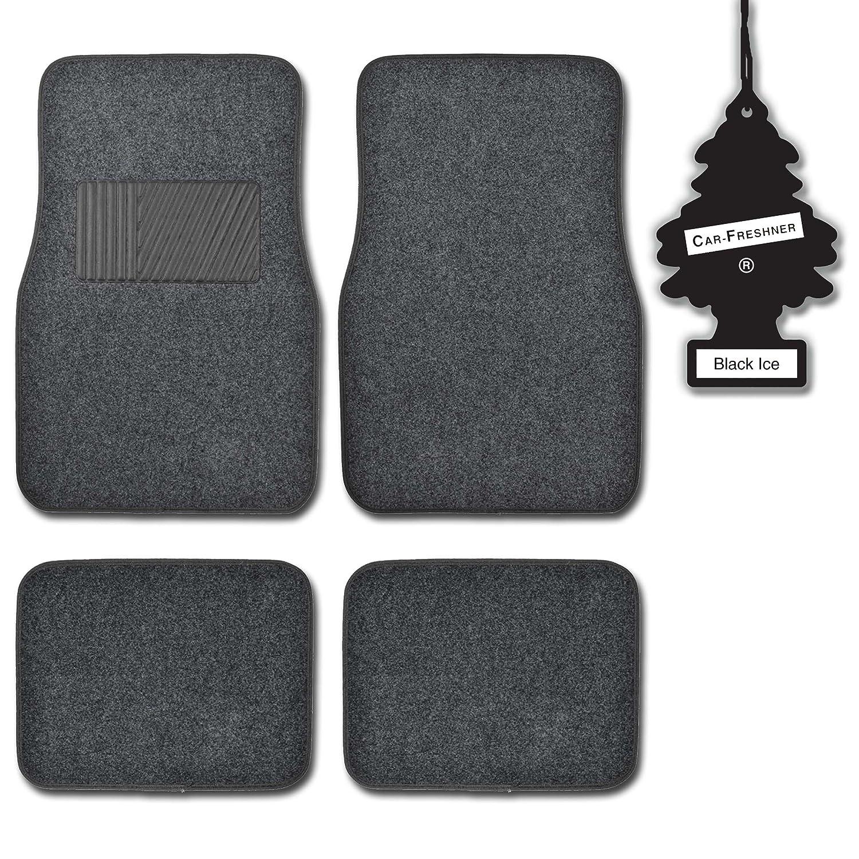 Little Tree Blackice BDK Charcoal 4 Pc Premium Carpeteded Car Mats w// Heel Pad