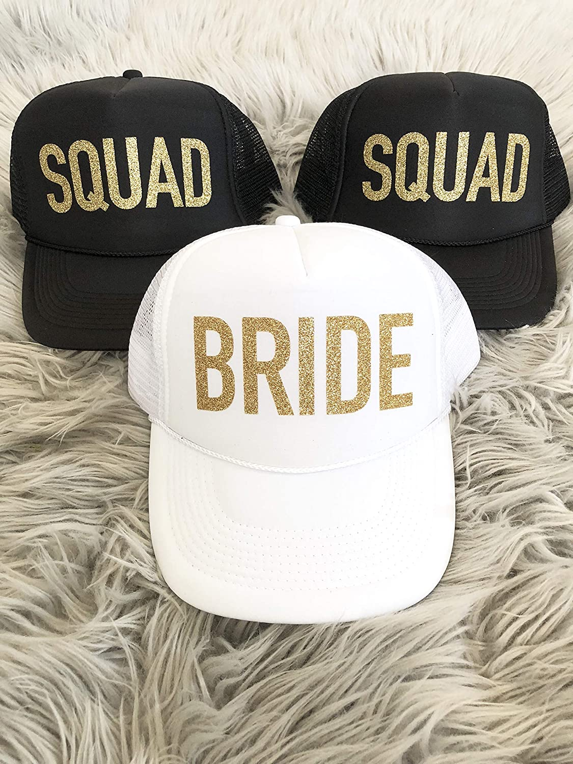 eb25bda7 Amazon.com: SQUAD and BRIDE Bachelorette Party Hats: Handmade