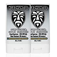Headhunter Sunscreen Face Stick SPF 45 (Pack of 2), Waterproof Surf Sunblock for Waterman, Water-Resistant Facial Sunscreen for Ultra-Sport Protection and Solar Defense (80 min), Tinted Light Brown