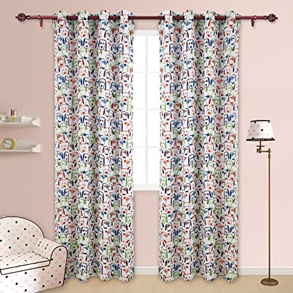 Deconovo Decorative Puppies Print Grommet Top Thermal Insulated Blackout  Curtains For Kids Bedroom And Nursery Room