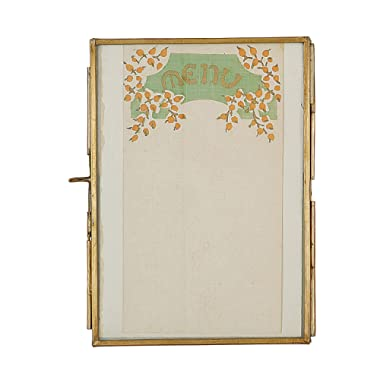 Creative Co-op DA4077 Gold Brass & Glass Photo Frame with Hinged Opening