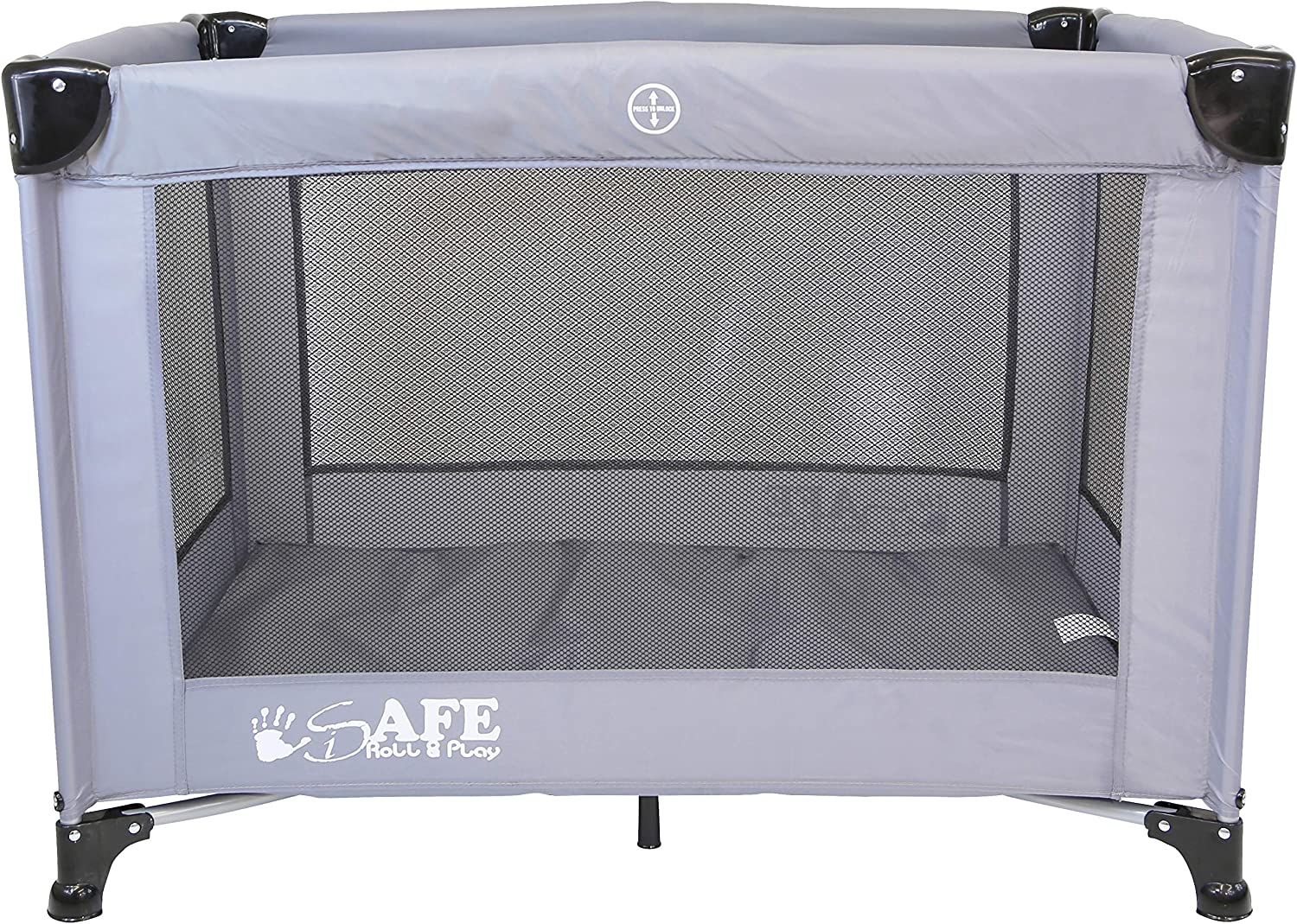 96 cm x 66 cm Luxury Baby Travel Cot Playpen Compact Fold iSafe Roll /& Play