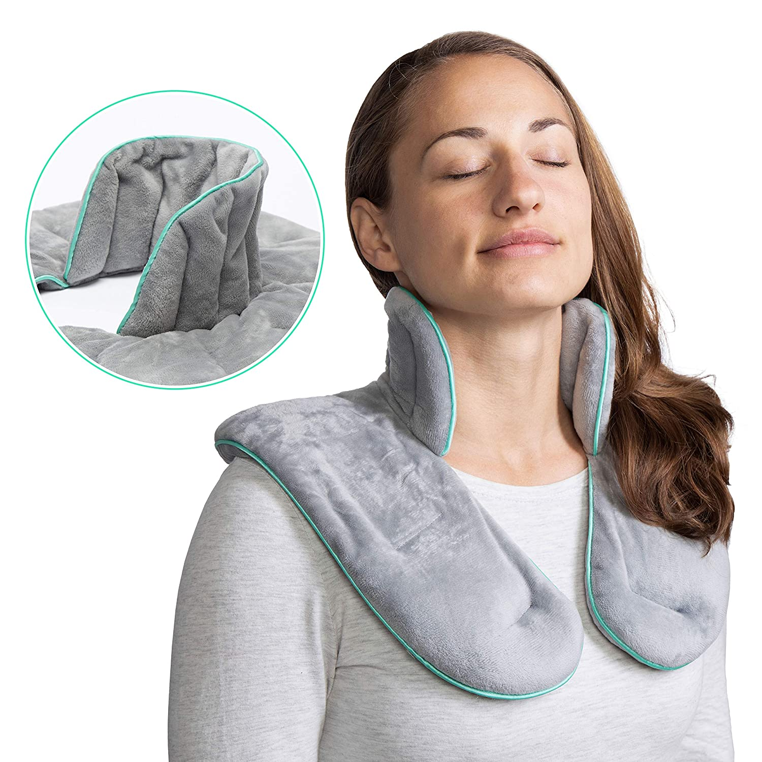 Microwaveable Neck & Shoulder Wrap by Vitnesse - Weighted Herbal Aromatherapy Heating Pad for Men & Women - Comforting Compress for Muscle Pain, Anxiety & Stress Relief