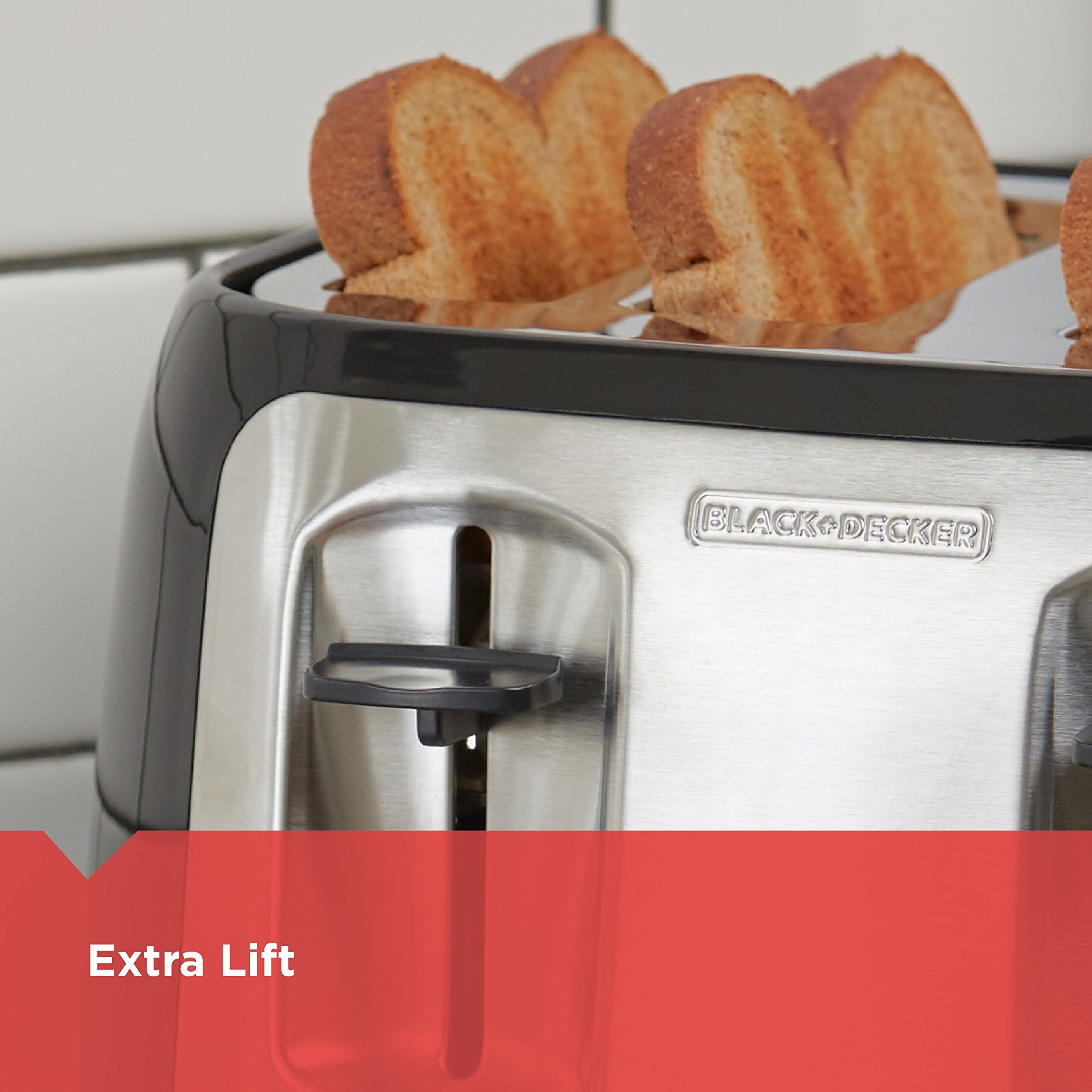 BLACK+DECKER 4-Slice Toaster, Classic Oval, Black with Stainless Steel Accents, TR1478BD by BLACK+DECKER (Image #5)