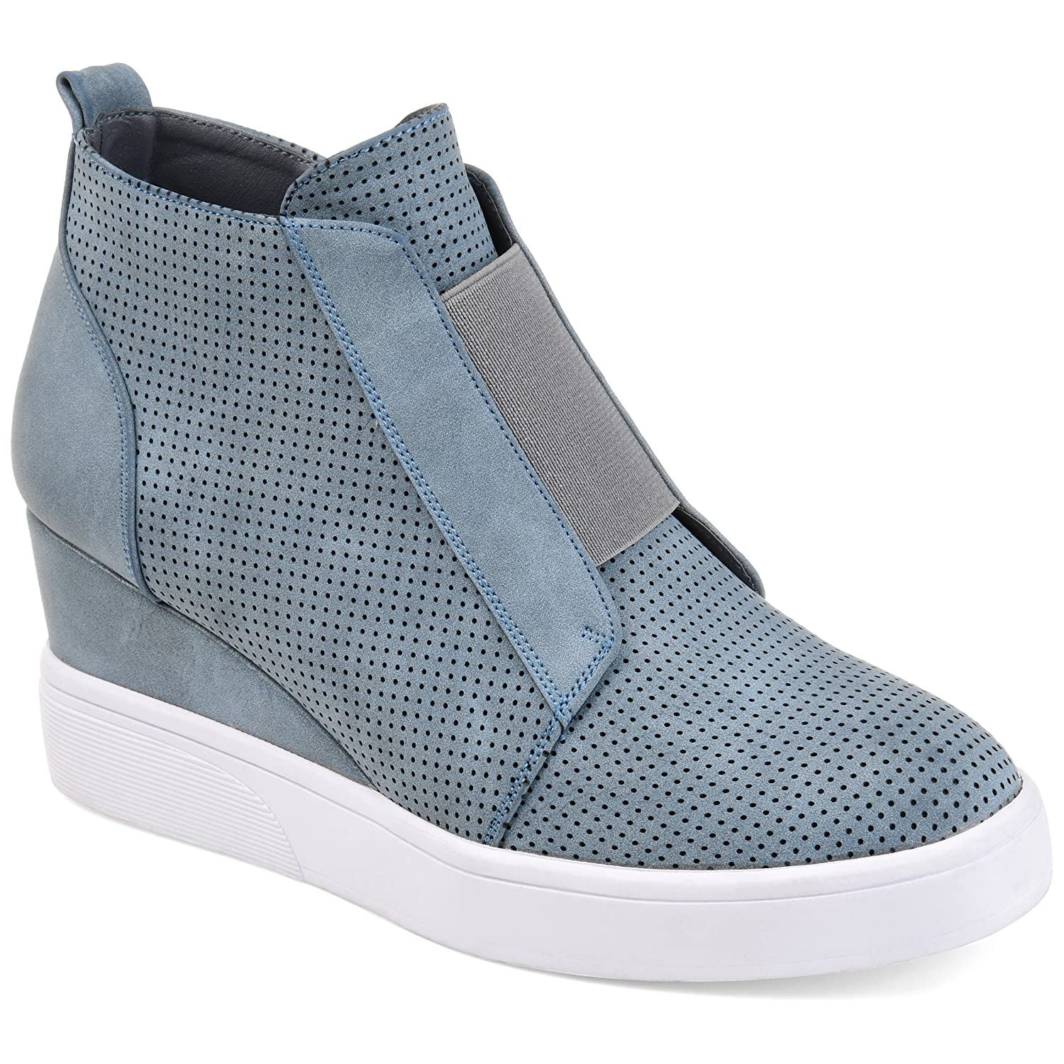 Journee Collection Womens Athleisure Laser-Cut Side-Zip Sneaker Wedges B07BYWF5SS 9 B(M) US|Blue