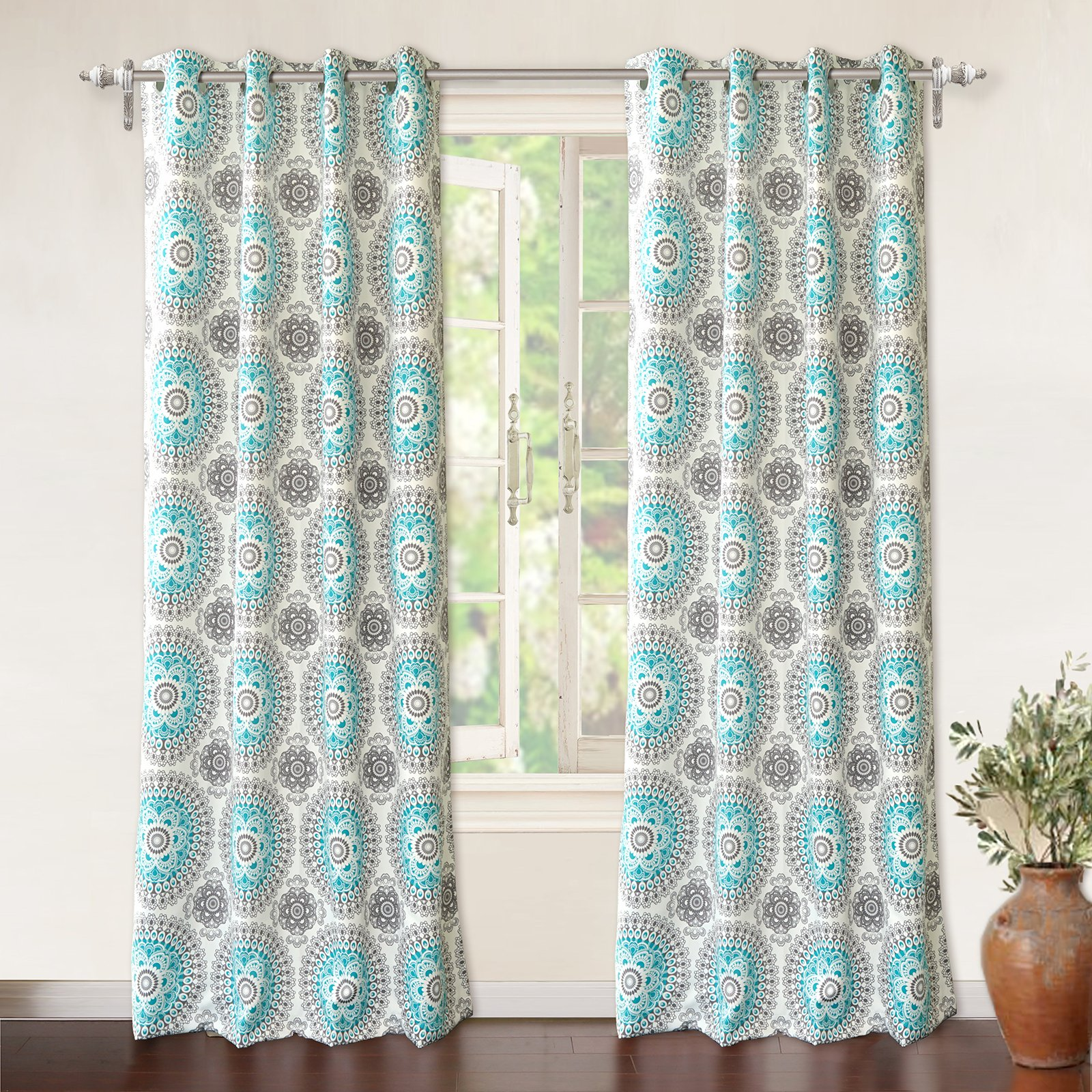 DriftAway Bella Medallion and Floral Pattern Room Darkening and Thermal Insulated Grommet Window Curtains 2 Panels Each 52 Inch by 84 Inch Aqua and Gray by DriftAway