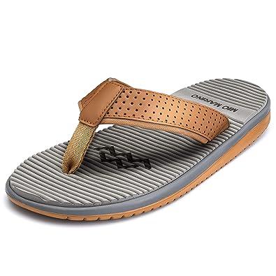 64c7d1a00be6 Mio Marino Flip Flops for Men - Comfortable Mens Beach Flip Flop Sandals - Memory  Foam