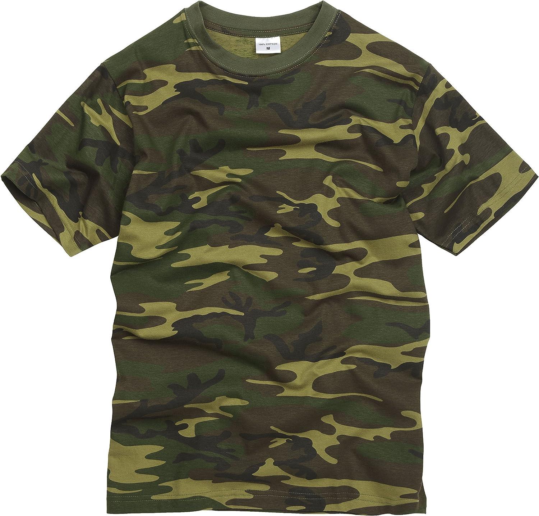100% Algodón Estilo Militar Camiseta - Camuflaje Bosque: Amazon.es ...