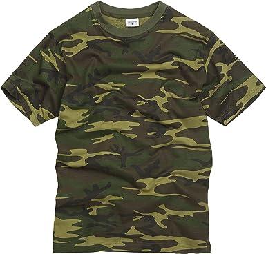 100% Algodón Estilo Militar Camiseta - Camuflaje Bosque: Amazon.es: Ropa y accesorios