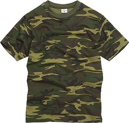 TALLA L. 100% Algodón Estilo Militar Camiseta - Camuflaje Bosque