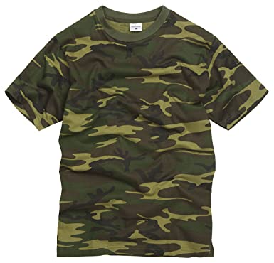 6d75ffca 100% Cotton Military Style T-Shirt - Woodland Camouflage: Amazon.co.uk:  Clothing