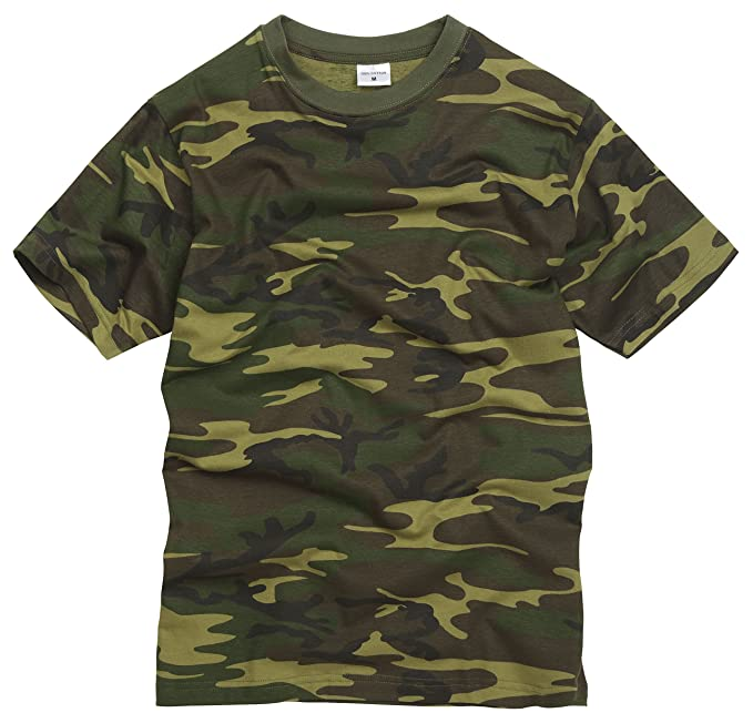 100% Algodón Estilo Militar Camiseta - Camuflaje Bosque