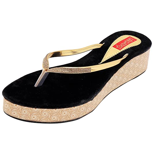 Footrendz Women's's Attractive Faux Leather Wedges Ethnic Footwear at amazon
