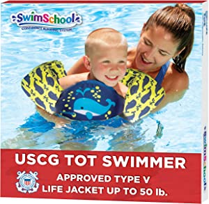 SwimSchool USCG Approved TOT Swimmer, Arm Floaties, Puddle Jumper, Type V Life Jacket/PFD, Medium/Large, Navy/Yellow Whale