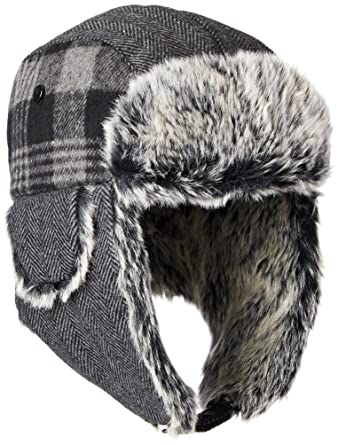 64387956a98 Dockers Men s Plaid and Herringbone Mixed Media Trapper Cap with Faux Fur  Lining