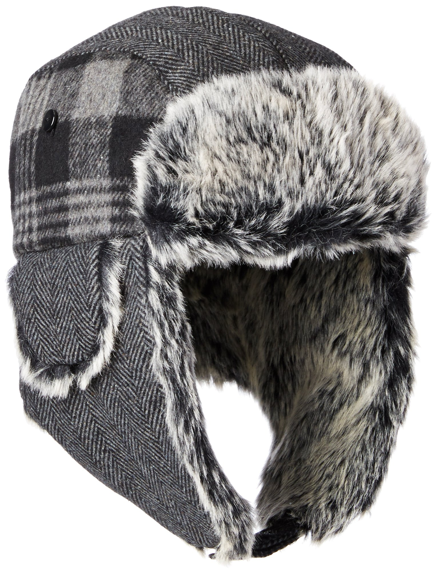 7ce65aa52884f6 Amazon.com: Dockers Men's Plaid and Herringbone Mixed Media Trapper Cap  with Faux Fur Lining, Charcoal, SMALL/MEDIUM: Clothing