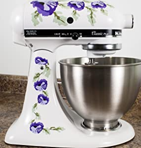 Purple Poppy Flowers Watercolor Vinyl Decals for Kitchen Mixers