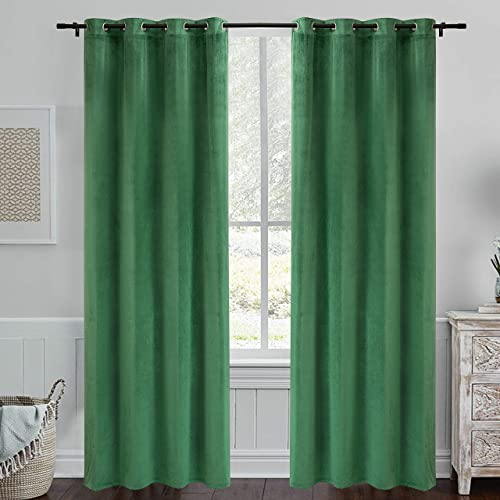 PY Home Sports Green Velvet Curtains 95 Inches- Room Darkening Curtains Grommet Blackout Window Treatment for Living Room Solid Draperies Dark Green, 52 x95 , 2 Panels