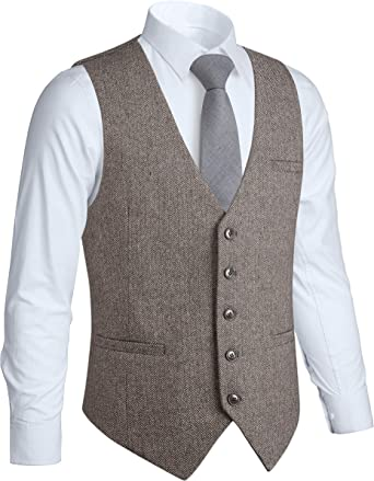 Gioberti Mens 5 Button Slim Fit Formal Herringbone Tweed Suit Vest