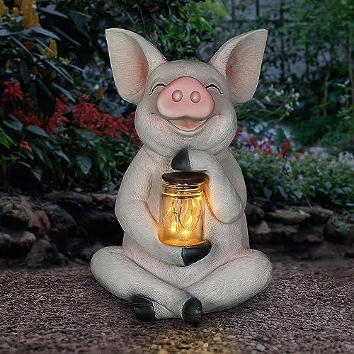 Exhart Pig Solar LED Glass Statue Holding a Mason Jar w/Firefly String Lights Decor