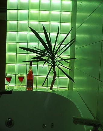 Lumineux de séparation briques en verre LED RVB douche mural Housse ...
