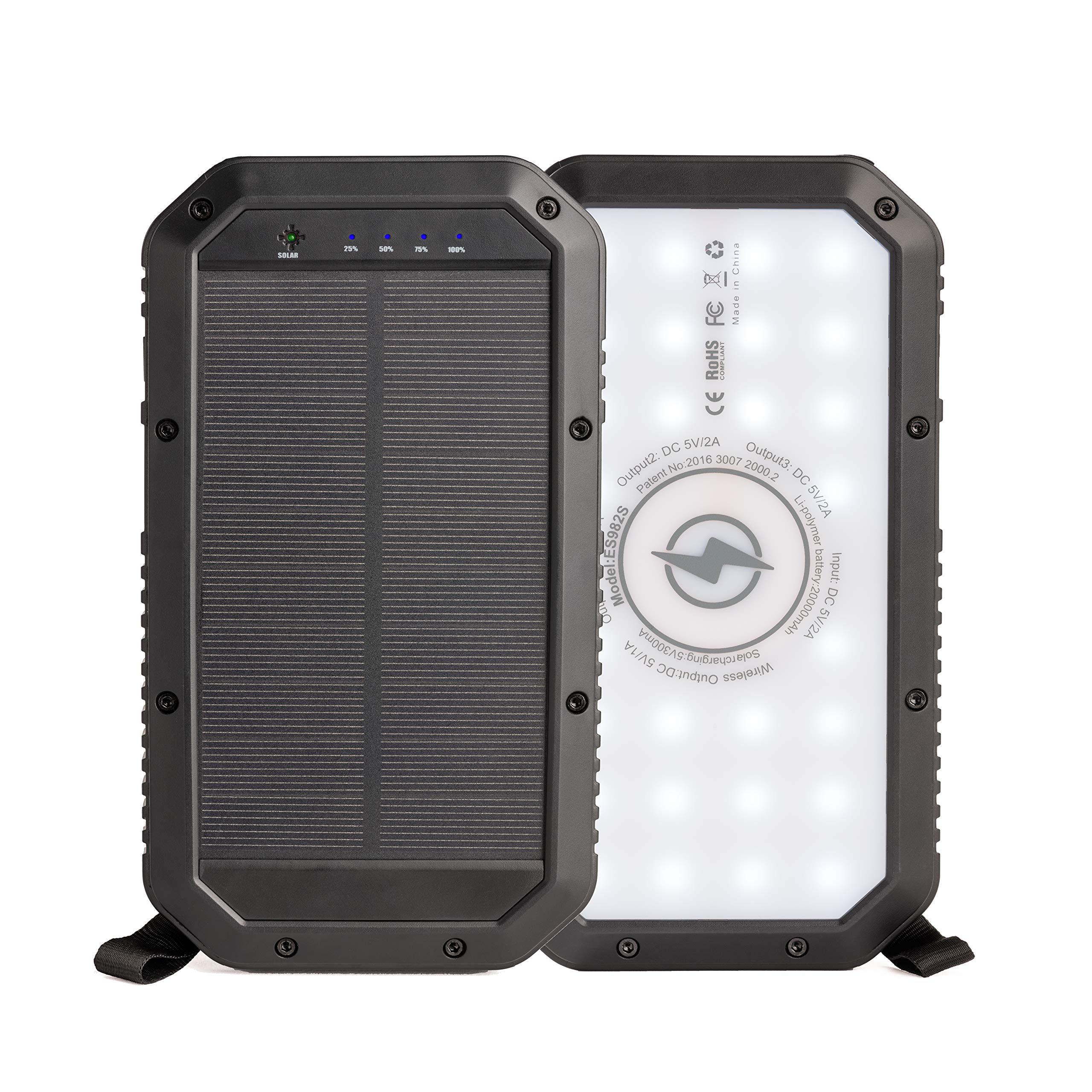Sozo Solar Charger, Solar Power Bank with Qi Wireless Charging, 20,000mAh High Capacity Solar Power Bank, Three USB Ports, Bright LED Flashlight with Three Settings