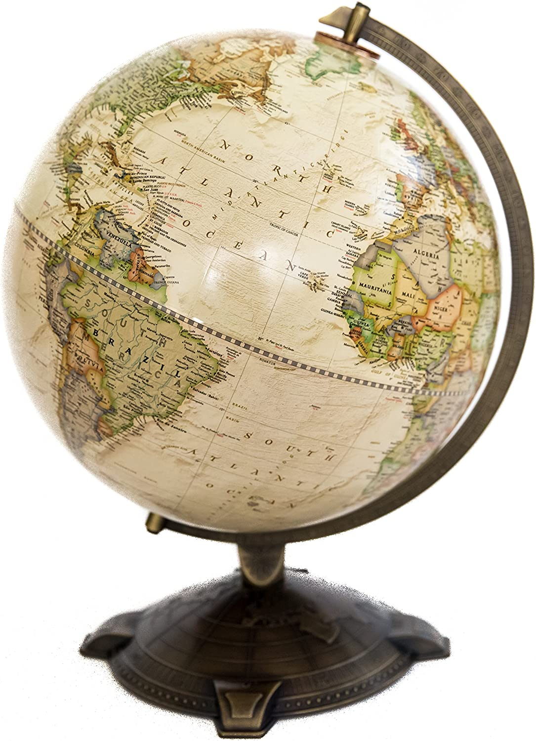 """National Geographic Antique Globe 12"""". Made in The USA"""