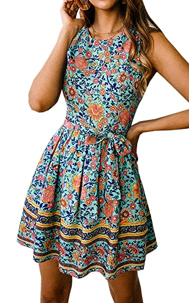 5b74283cf7198 Angashion Women's O Neck Floral Print Swing Mini Dress Sleeveless Zip Up Summer  Beach Dress with