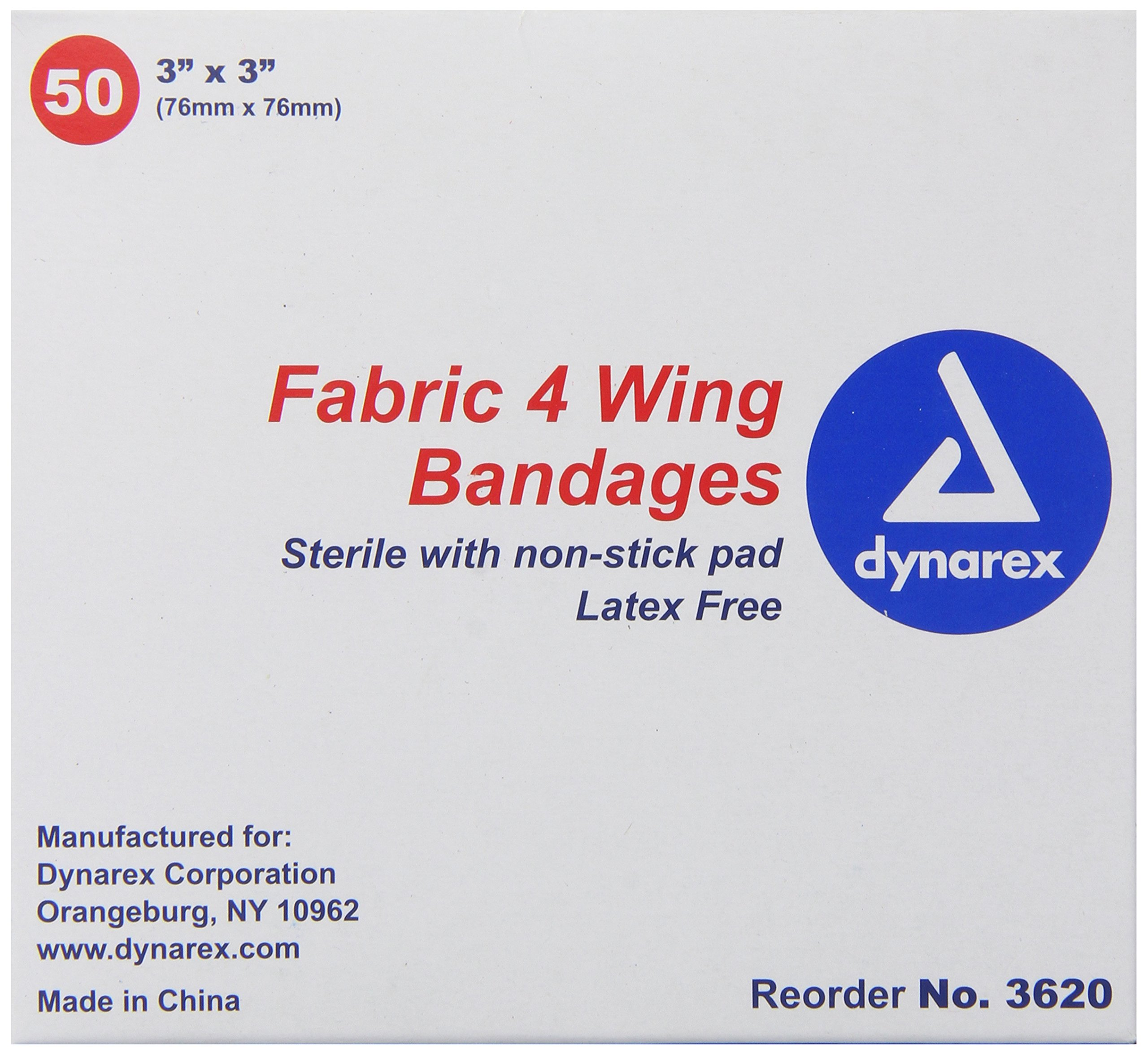 Dynarex Adhesive Fabric Bandage, 3 Inches X 3 Inches Sterile, 4 Wing, 50 Count